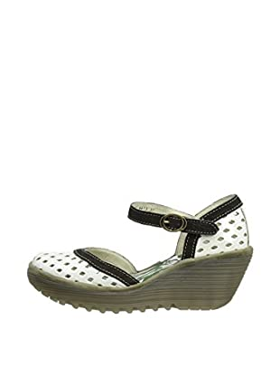 Fly London Zapatos Yana Perf (Blanco / Negro)