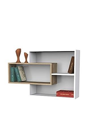 Dekorister Bücherregal Sementha weiß/walnuss 22x104,1x66,2cm