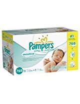 Pampers Sensitive Wipes (2 Tubs, 12 Packs, 64 Sheets per Tub)