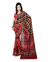 Fabdeal Faux Georgette Saree - RNPSR9255AOC (Red)