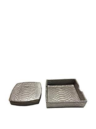 Kim Seybert Set of 6 Snake Skin Coasters, Silver