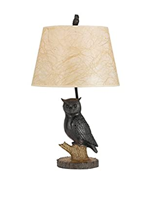 Bristol Park Lighting Owl Table Lamp With Hardback Fabric Shade, Antique Bronze