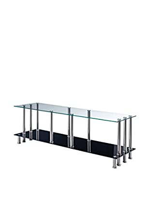 Luxury Home TV Stand, Clear/Black