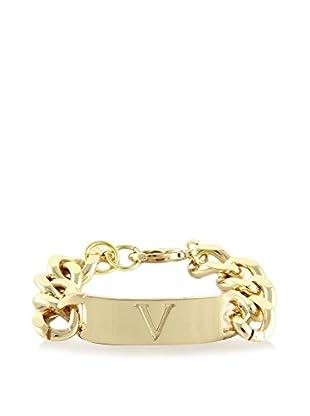 Ettika 18K Gold-Plated V Initial ID Bracelet