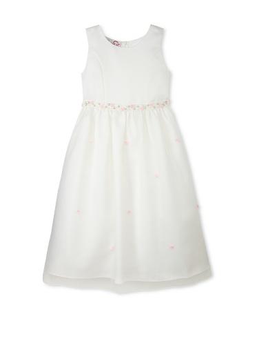 Jellybean of Miami Girl's Plus Size Beaded Rosebud Dress (Off-White/Pink)