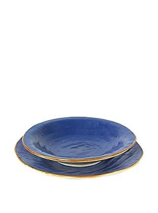 Novità Home Set Plato Llano 4 Piezas Color Azul
