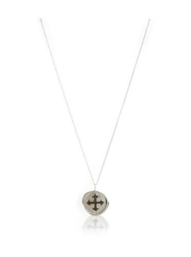 Catherine Angiel Silver & Black Rhodium Cross Seal Pendant Necklace