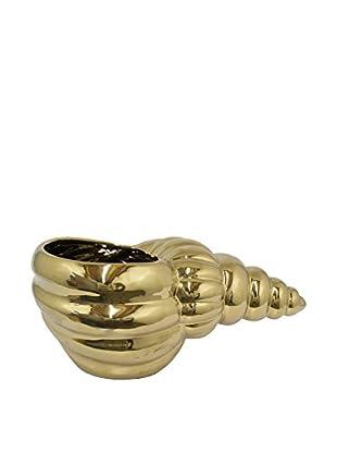 Three Hands Ceramic Shell Planter, Gold