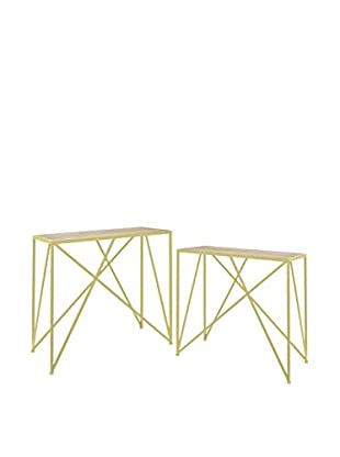 Three Hands Metal & Wood Console Table Set, Natural