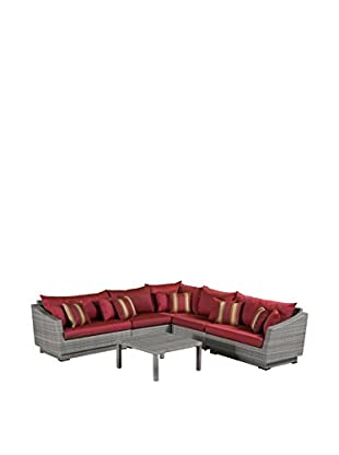 RST Brands Cannes 6-Piece Corner Sectional Set, Red