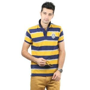 Blumerq Men's Polo T-shirt - Grey, Navy Blue & Yellow