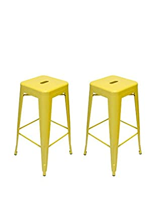 Aeon Euro Home Collection Set of 2 Galaxy Bar Stools, Yellow