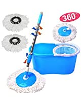 Easy Life Blue Color Easy Life Easy Mop 360° Magic Mop 360 Degree Rotating Fast Spindry 2 Mop Heads-By Gadgetbucket