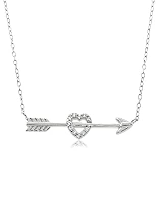 Diamonere Pavé Cupid's Heart & Arrow Necklace, Silver