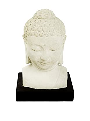 My Spirit Garden Volcanic Ash Buddha Head, White/Brown