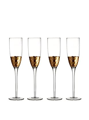 Jay Imports Set of 4 Daphne Gold Flutes, Clear/Gold, 7.8-Oz.