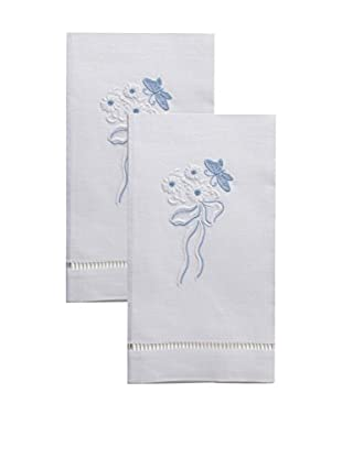 Henry Handwork Set of 2 Butterfly & Bow Embroidered Hand Towels, White
