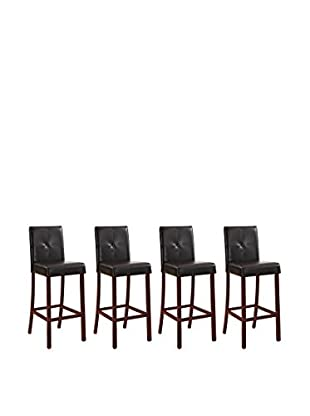 Baxton Studio Set of 4 Curtis Modern Bar Stools, Dark Brown