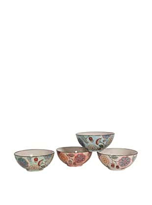 Couleur Nature Set of 4 Ceramic Floral Bowls