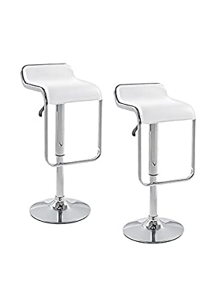 Manhattan Living Set of 2 Flat Bar Stool Chairs, White