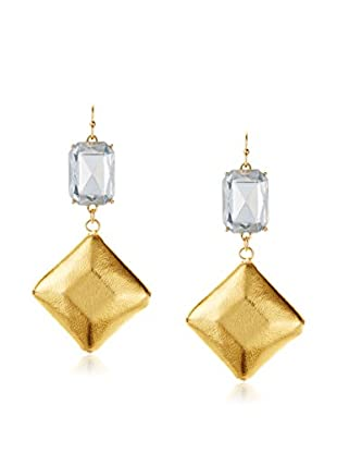 Bijou Leather and Crystal Drop Earring