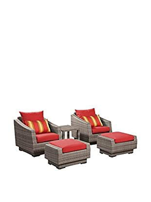 RST Brands Cannes 5-Piece Club Chair & Ottoman Set, Red