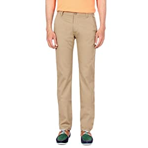 Light Brown Cotton and Elastine Trousers