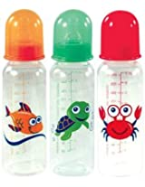 Nutria 3 Pack BPA Free Printed Bottles with Silicone Nipple, 8 Ounce, Green Turtle