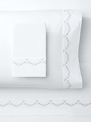 Melange Home 300 Thread Count Egyptian Cotton Percale Laurel Embrodiery Sheet Set