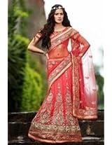 Abhaysri Fashion Designer Replica Red Colour Net Fabric Bridal Party Wedding Wear Lehenga Saree