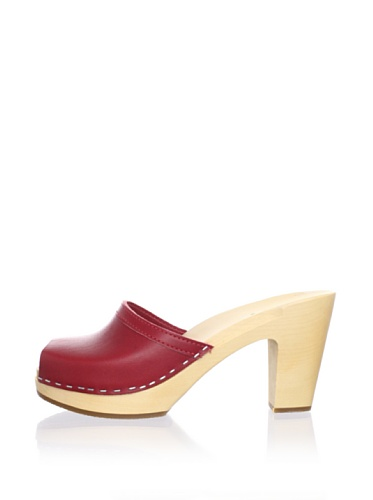 Swedish Hasbeens Women's Grease Clog Sandal (Red)