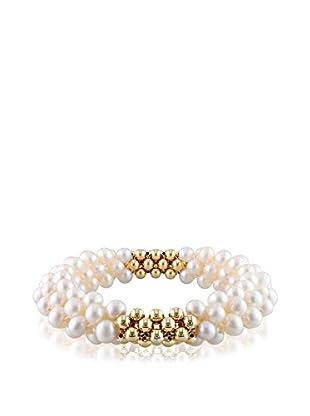 Michiko 6-6.5mm Freshwater Multi-Strand White Pearls & Round Gold Tone Beads Stretch Bracelet