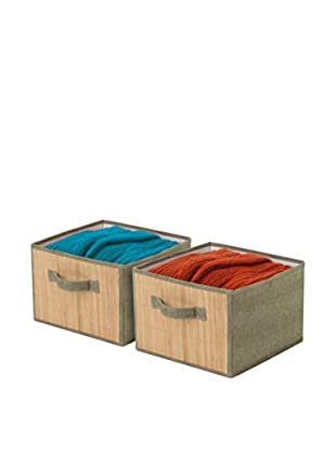 Honey-Can-Do Set of 2 Storage Drawers, Bamboo/Moss Green