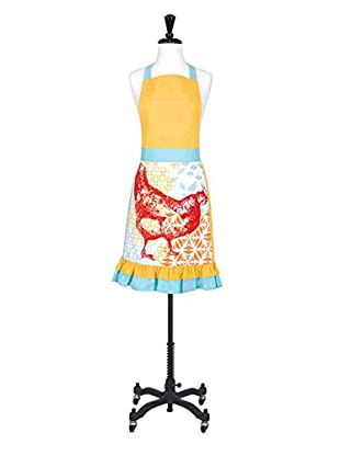 KAF Home Rooster Jacquard Apron, Yellow/Blue/Red