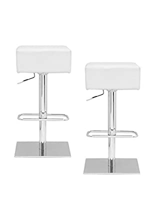 Manhattan Living Set of 2 Marshmallow Bar Stools, White