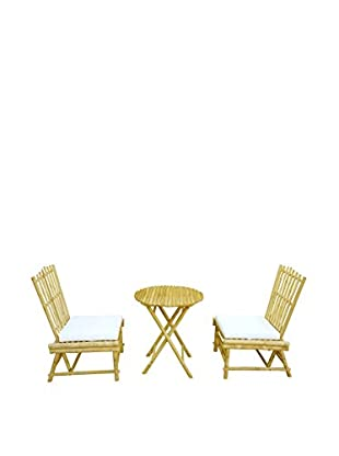ZEW, Inc. Beach Bamboo Chair & Table Set, Natural