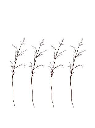 Set Of 4 Movable Bejeweled Twigs, Light Lavender With Dark Brown