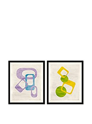 Soicher Marin Set of 2 Mod Giclée Reproductions, Blue/Purple/Green/Yellow