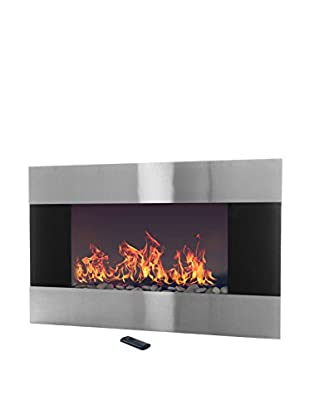 Northwest Electric Fireplace with Wall Mount & Remote, Stainless Steel/Black