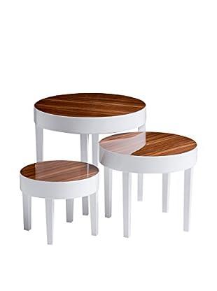 Premier Houseware  Couchtisch 3er Set 2403845 weiß