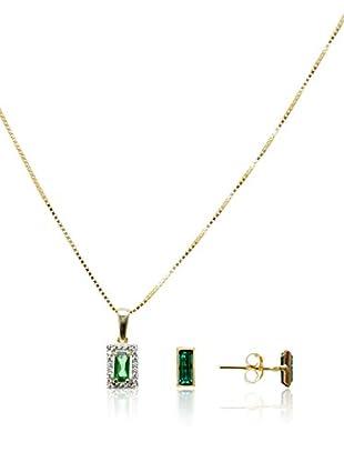 Córdoba Jewels Conjunto de collar y pendientes Royal Verde Zirconium Plata de ley 925 bañada en oro Única