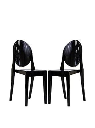 Modway Set of 2 Casper Dining Chairs (Black)