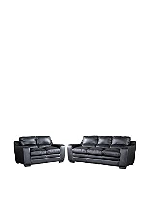 Baxton Studio Diplomat Modern 2-Piece Sofa Set, Black