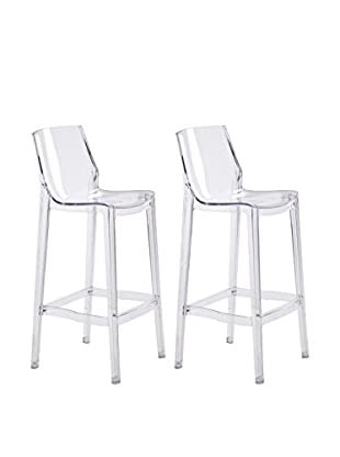 Zuo Set of 2 Phantom Bar Chairs, Clear