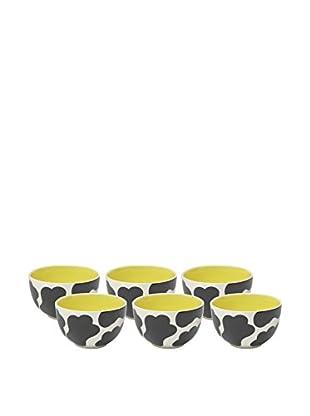 Woodard & Charles Set of 6 Cow Ice Cream Bowls, Yellow