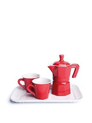 Kaffeeset rot/weiß