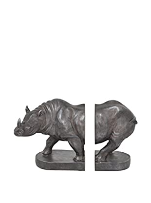 Three Hands Set of 2 Resin Rhino Bookends, Brown