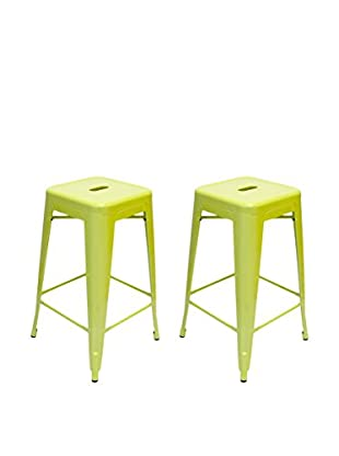 Aeon Euro Home Collection Set of 2 Galaxy Counter Stools, Lime