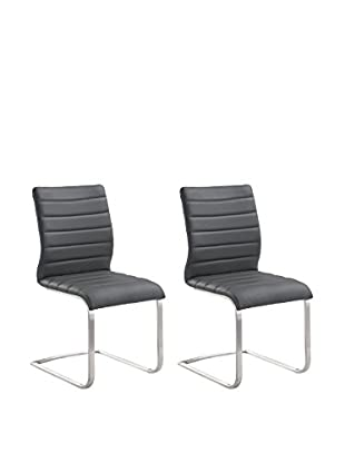 Armen Living Fusion Set of 2 Contemporary Side Chairs, Gray