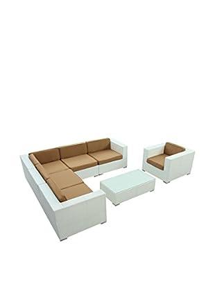 Modway Corona 7-Piece Outdoor Patio Sectional Set (White/Mocha)